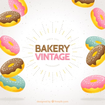 Vintage background with delicious donuts