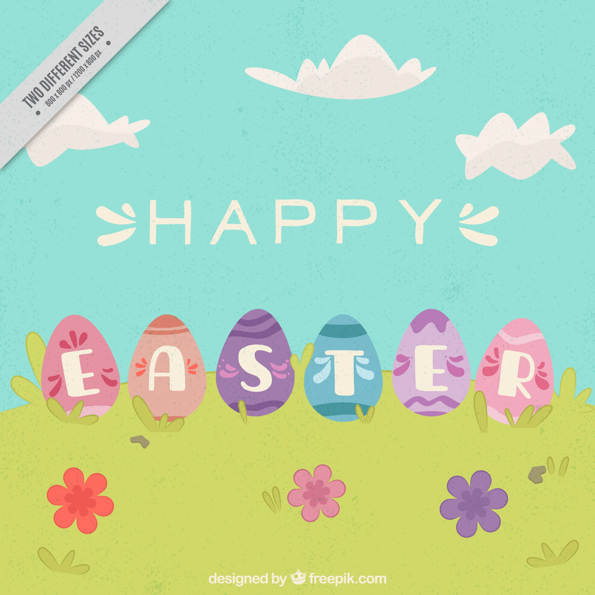 Vintage background with easter eggs