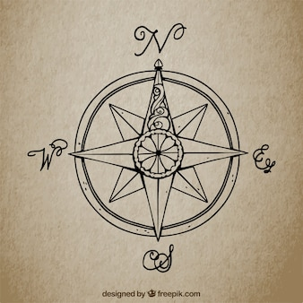 Vintage background with hand drawn compass