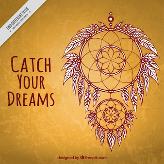 Vintage background with hand drawn decorative dream catcher