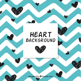Vintage background with hand drawn hearts