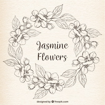 Vintage background with hand drawn jasmine wreath