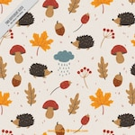 Vintage background with hedgehogs and acorns