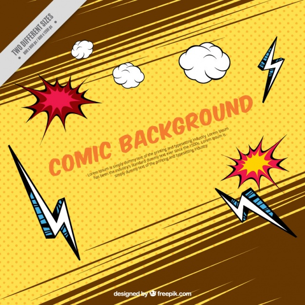 Vintage background with lightning and comic effects