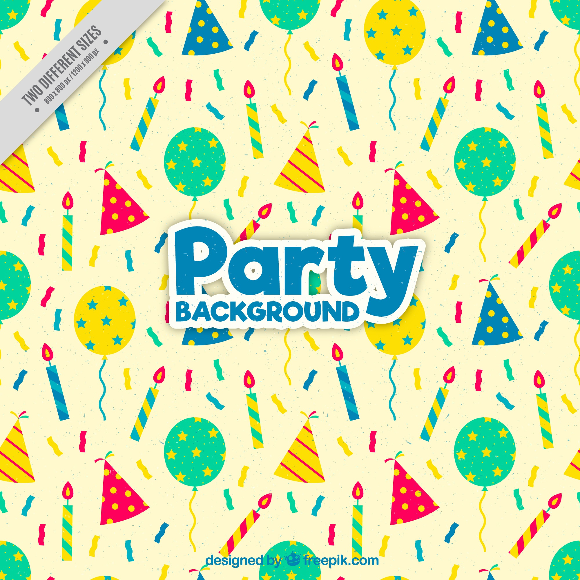 Vintage background with party hats and balloons