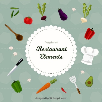 Vintage background with restaurant elements and vegetables
