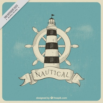 Vintage background with rudder and lighthouse