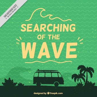 Vintage background with silhouettes of surf