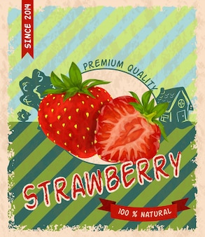 Vintage background with strawberries