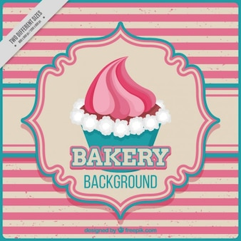 Vintage background with stripes and cupcake