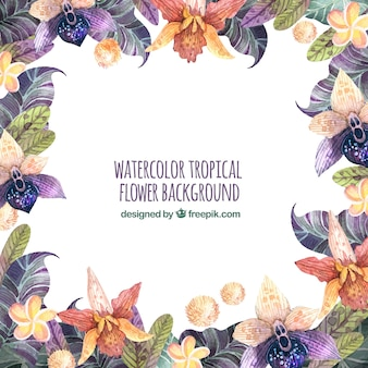 Vintage background with tropical watercolor flowers