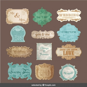 Vintage badges for wedding
