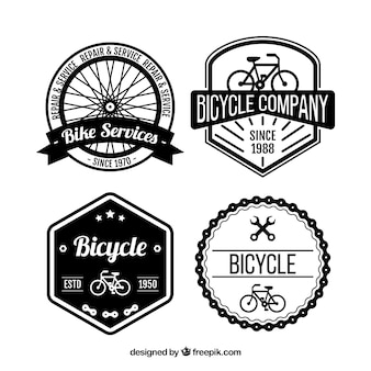 Vintage badges of bicycles