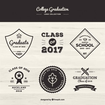 Vintage badges set of graduation