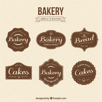 Vintage bakery badges collection