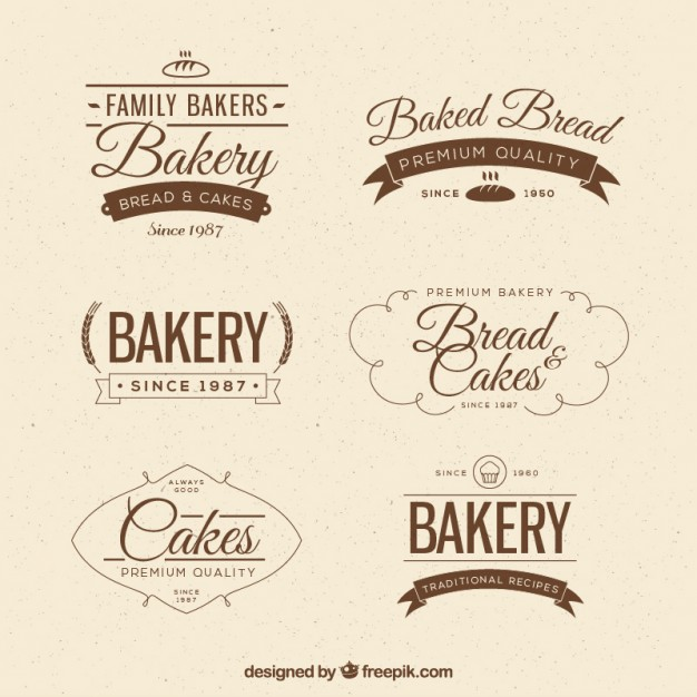 Vintage bakery badges in flat style