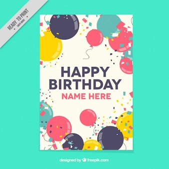 Vintage balloons card with confetti