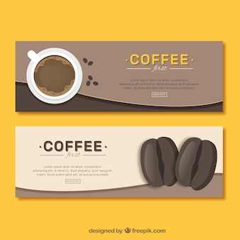Vintage banners for coffee and coffee beans