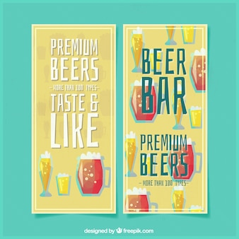 Vintage banners of beers with foam