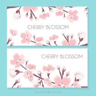 Vintage banners of cherry blossoms