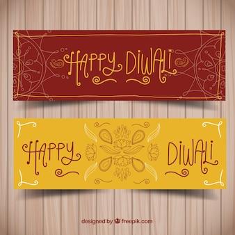 Vintage banners of happy diwali drawings