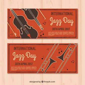 Vintage banners of jazzy day musical instruments
