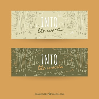 Vintage banners with sketches of forest
