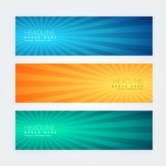 Vintage banners with sunburst effect