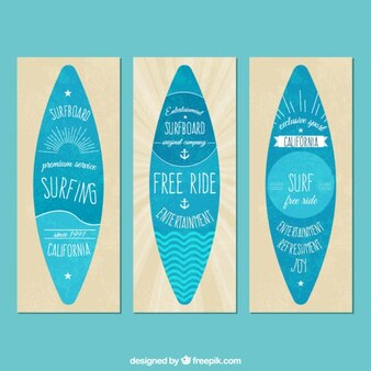 Vintage banners with surfboards in flat design