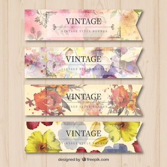Vintage banners with watercolor flowers