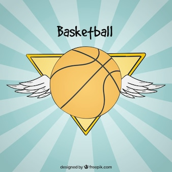 Vintage basketball wing background with wings