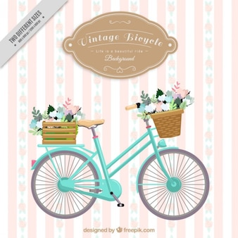 Vintage bicycle striped background