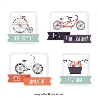 Vintage bicycles with ribbons labels