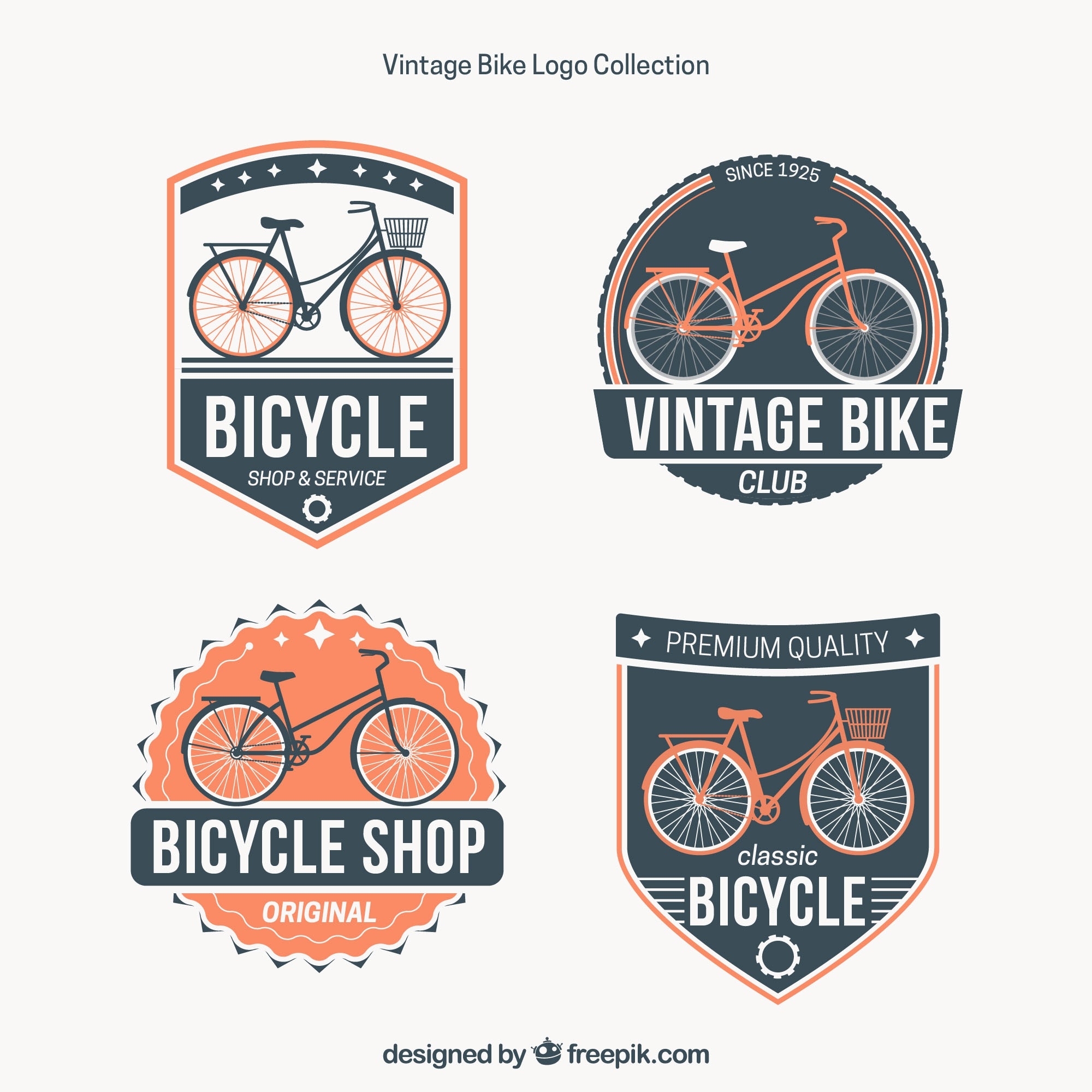 Vintage bike logos with badge style