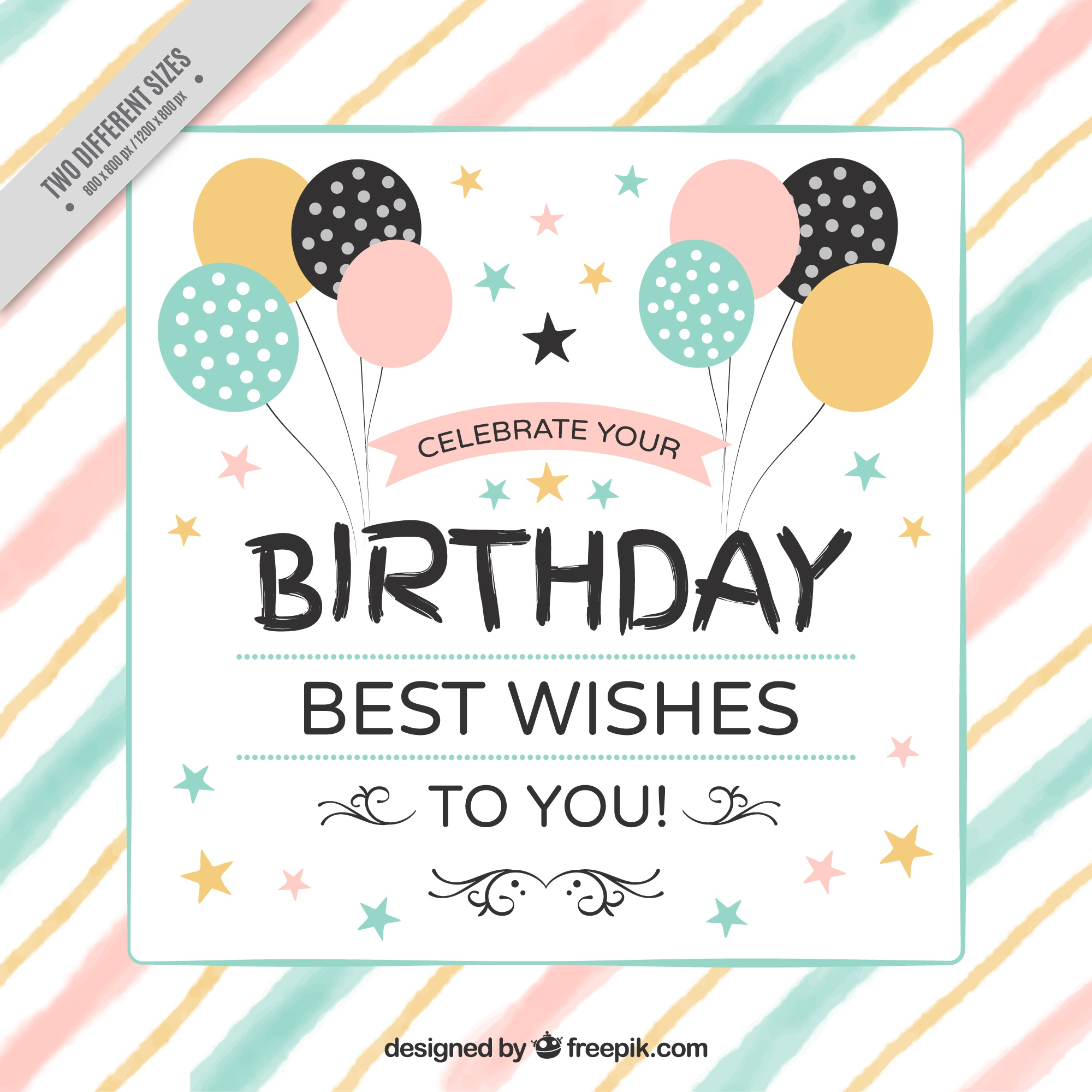 Vintage birthday background with balloons and watercolor stripes