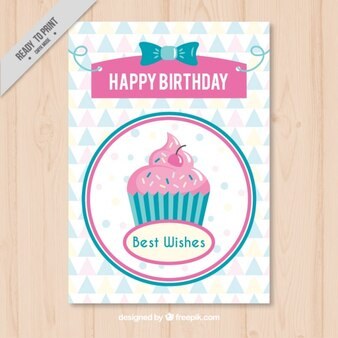Vintage birthday card with a delicious cupcake