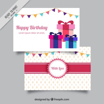 Vintage birthday card with gifts and garlands