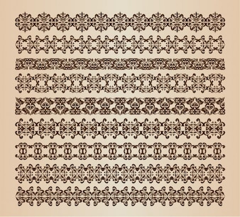 Vintage borders and dividers vector set