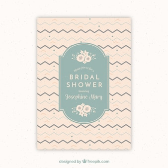 Vintage bridal shower invitation with zigzag lines