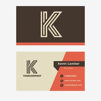 Vintage brown business card with K letter
