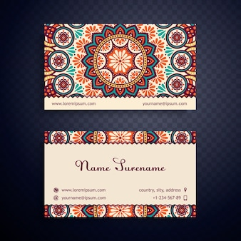 Vintage business card with mandala design