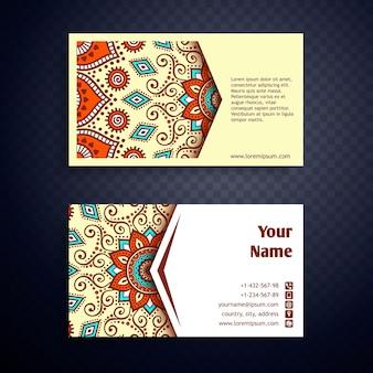 ビジネスカードヴィンテージ装飾要素手描きの背景と曼荼羅