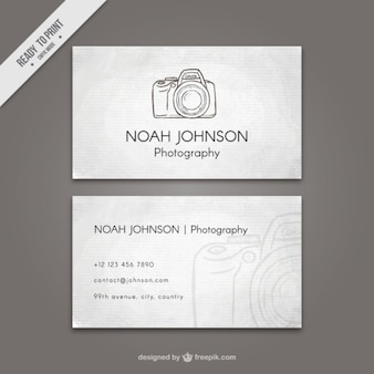 Vintage business card with sketchy camera