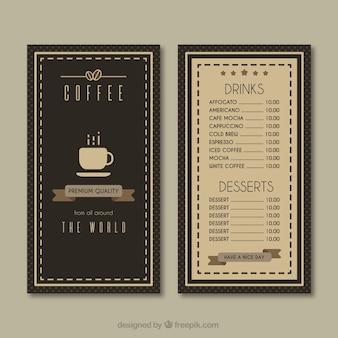 Vintage cafeteria menu