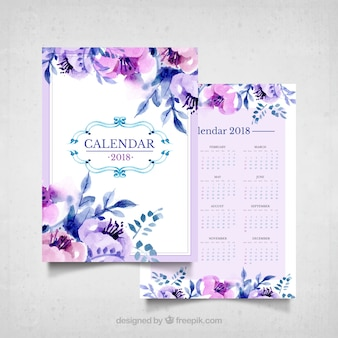 Vintage calendar of watercolor flowers in purple tones