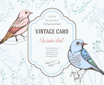 Vintage card with birds design