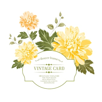 Vintage card with yellow flowers