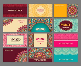 Vintage cards with mandalas