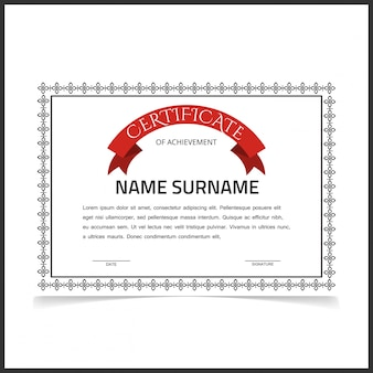 Vintage certificate design with red ribbon