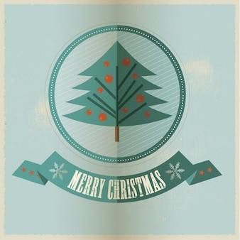 Vintage christmas card with christmas tree